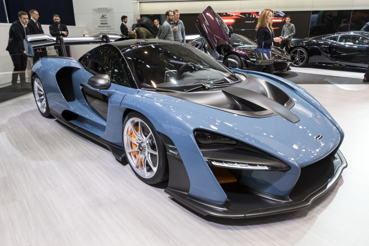 The New McLaren Senna is presented during the press day at the 88th Geneva International Motor Show in Geneva, Switzerland, Tuesday, March 6, 2018. (Cyril Zingaro/Keystone via AP)