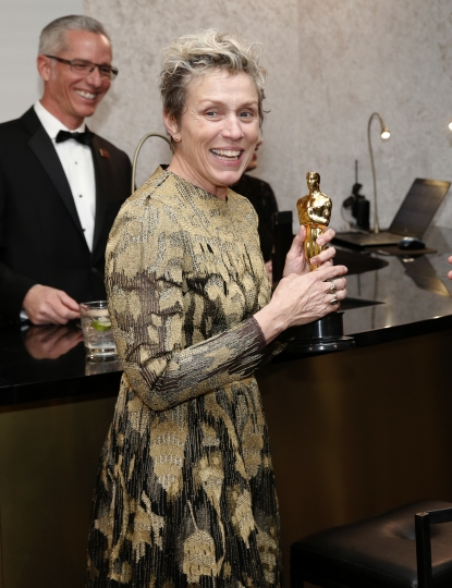 "Frances McDormand, winner of the award for best performance by an actress in a leading role for ""Three Billboards Outside Ebbing, Missouri"", attends the Governors Ball after the Oscars on Sunday, March 4, 2018, at the Dolby Theatre in Los Angeles. (Photo by Eric Jamison/Invision/AP)"