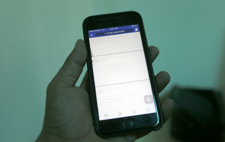 Blocked Facebook window is seen on a smart phone screen in Colombo, Sri Lanka, Wednesday, March 7, 2018. An internet company official says the government has ordered popular social media networks blocked across a swathe of central Sri Lanka in an attempt to stop the spread of religious violence. (AP Photo/Eranga Jayawardena)