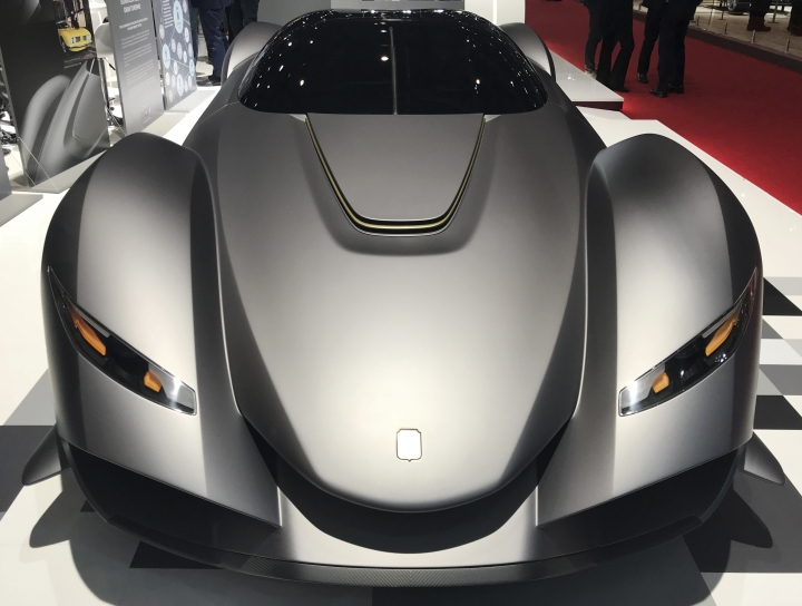 In this March 6, 2018 photo a Zagato Isorivolta Vision Gran Turismo is displayed at the Geneva, Switzerland, Auto Show. The fair opens its gates to the public on March 8. (AP Photo/David McHugh)