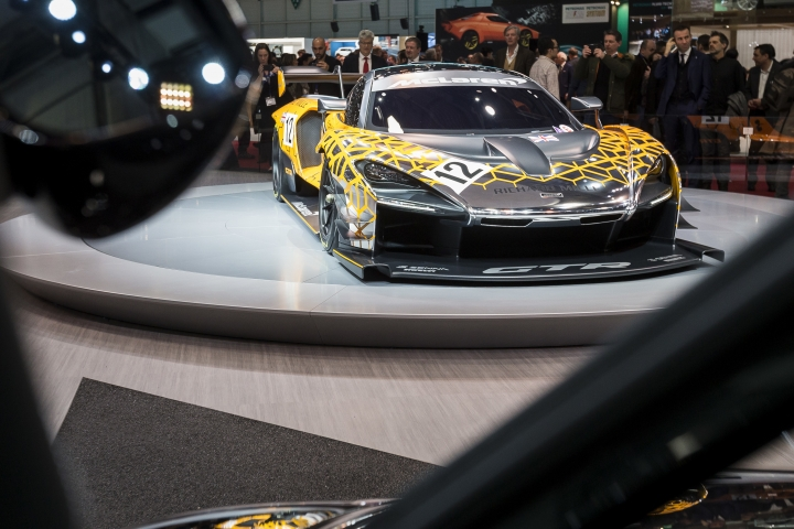 The New McLaren Senna gtr concept is presented during the press day at the 88th Geneva International Motor Show in Geneva, Switzerland, Tuesday, March 6, 2018. (Cyril Zingaro/Keystone via AP)