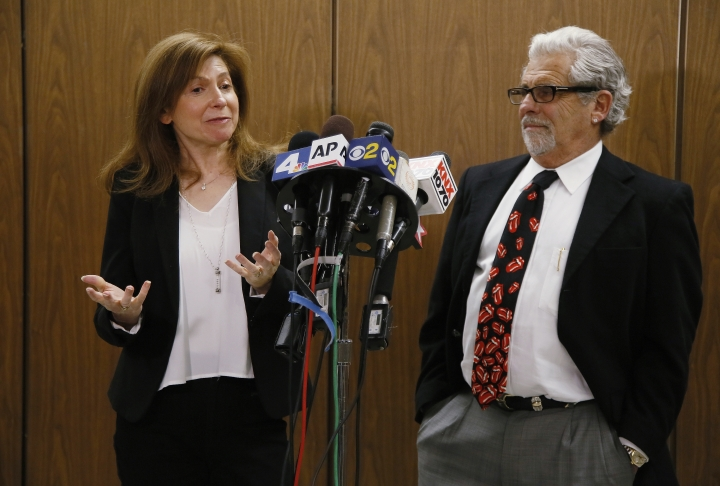 Rabbi Naomi Levy, left, and Attorney Daniel Brookman appear on behalf of defendant Terry Bryant, as the media awaits his appearance in Los Angeles Superior Court Wednesday, March 7, 2018. Bryant is accused of stealing Frances McDormand's best actress Oscar statuette during the Governors Ball after party on Sunday. (AP Photo/Damian Dovarganes)