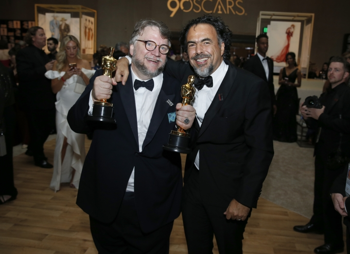 Guillermo del Toro, left, and Alejandro Gonzalez Inarritu attend the Governors Ball after the Oscars on Sunday, March 4, 2018, at the Dolby Theatre in Los Angeles. (Photo by Eric Jamison/Invision/AP)