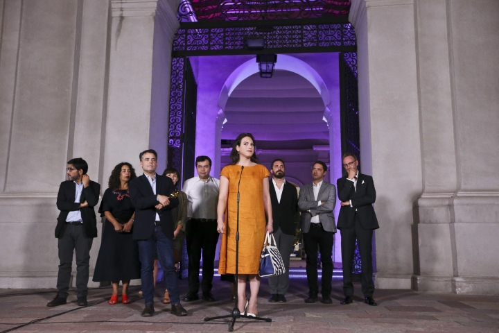 "Daniela Vega, actress and protagonist of the Oscar winning foreign language film ""A Fantastic Woman"" talks with the media after meeting Chilean President Michelle Bachelet at La Moneda palace in Santiago, Chile, Tuesday, March 6, 2018. The movie ""A Fantastic Woman"" follows Marina, a transgender waitress and nightclub singer, whose long-term and loving older boyfriend suddenly dies. (AP Photo/Esteban Felix)"