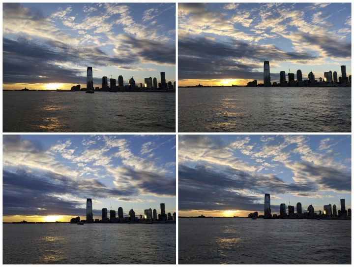 This combo shows photos of a sunset along the Hudson River, taken in New York with a view of New Jersey, on Tuesday, March 6, 2018. Starting at the top left and going clockwise, the phones used are Samsung's Galaxy S9, Apple's iPhone X, Google's Pixel 2 XL and Samsung's Galaxy Note 8. All top-end phones take decent photos, even in challenging low-light conditions, though there are some color variations. (AP Photo/Nick Jesdanun)