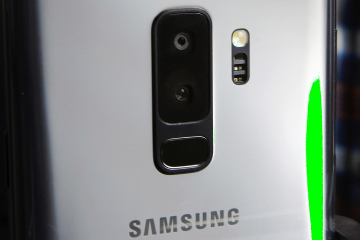 FILE- In this Feb. 21, 2018, file photo, the dual camera lens of the Samsung Galaxy S9 Plus mobile phone is shown in this photo during a product preview in New York. The Galaxy S9 phones will be available March 16. (AP Photo/Richard Drew)