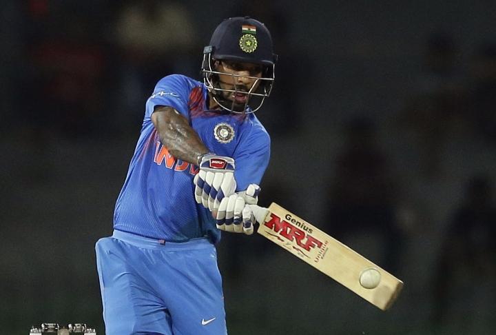 India's Shikhar Dhawan plays a shot against Bangladesh during their Twenty20 cricket match in Nidahas triangular series in Colombo, Sri Lanka, Thursday, March 8, 2018. (AP Photo/Eranga Jayawardena)