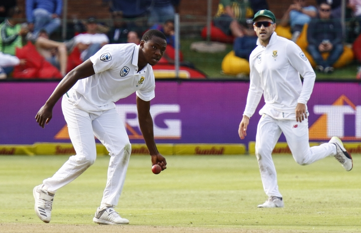 South Africa's Kagiso Rabada fields on the first day of the second cricket test between South Africa and Australia at St. George's Park in Port Elizabeth, South Africa, Friday, March 9, 2018. (AP Photo/Michael Sheehan)