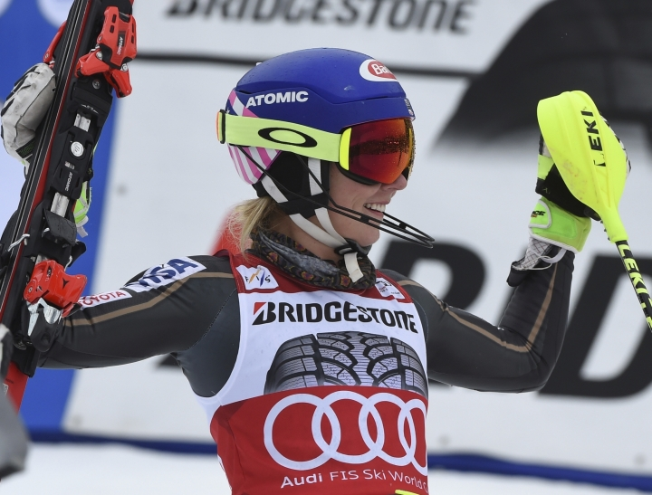United States' Mikaela Shiffrin celebrates after winning an alpine ski, women's World Cup slalom, in Ofterschwang, Germany, Saturday, March 10, 2018.(AP Photo/Marco Tacca)