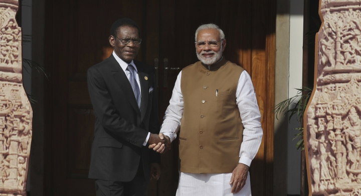 Indian Prime Minister Narendra Modi, right, poses with Equatorial Guinea President Teodoro Obiang Nguema Mbasogo for a photo at the International Solar Alliance founding conference in New Delhi, India, Sunday March 11, 2018. Modi and Macron on Sunday co-chaired the first Founding Conference of International Solar Alliance (ISA) in the capital. The summit which was representative by more than fifty countries aims to mobilize $1 trillion of investments by 2030 for massive deployment of solar energy. (AP Photo/Manish Swarup)