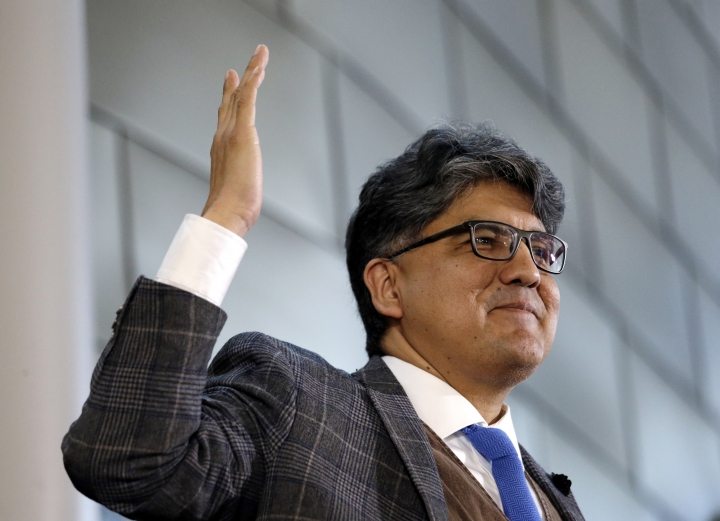 FILE - In this Oct. 10, 2016, file photo, author and filmmaker Sherman Alexie speaks at an event at Seattle's City Hall. Alexie's publisher, Hachette Book Group, is postponing the paperback of his latest book. Hachette told The Associated Press on Sunday, March 11, 2018, that the date has been pushed back indefinitely and that the change was made at the author's request. (AP Photo/Elaine Thompson, File)