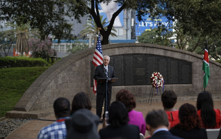 U.S. Secretary of State Rex Tillerson speaks to survivors, seated in foreground, after laying a wreath during a ceremony at Memorial Park in honor of the victims of the deadly 1998 U.S. Embassy bombing, in Nairobi, Kenya, Sunday, March 11, 2018. In 1998 the US embassies were bombed in near simultaneous attacks in two East African cities, in which over 200 people were killed. (AP Photo/Ben Curtis)