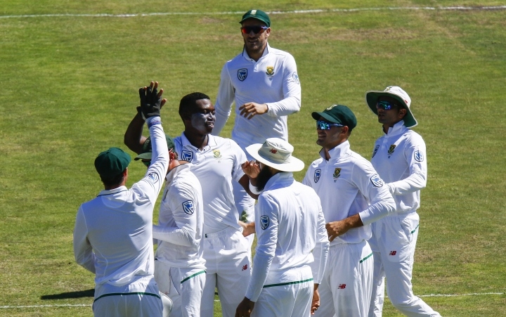 South Africa players celebrate the wicket of Australia's Nathan Lyon on the fourth day of the second cricket test between South Africa and Australia at St. George's Park in Port Elizabeth, South Africa, Monday, March 12, 2018. (AP Photo/Michael Sheehan)