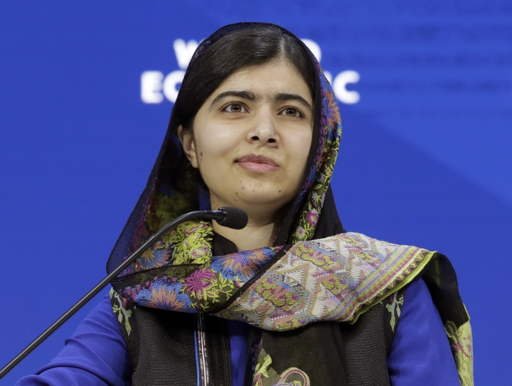 "FILE- In this Jan. 25, 2018 file photo, Nobel laureate Malala Yousafzai attends the annual meeting of the World Economic Forum in Davos, Switzerland. Little, Brown Books for Young Readers told The Associated Press on Monday that Yousafzai's ""We Are Displaced"" will come out Sept. 4. (AP Photo/Markus Schreiber, File)"