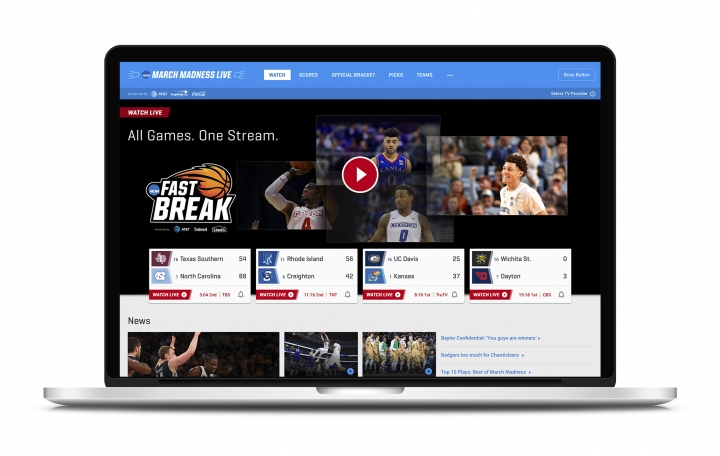 "This undated product image provided by Turner Broadcasting System, Inc. shows March Madness Live on a laptop. The men's college basketball tournament begins Tuesday, March 13, 2018. All 67 games will be available online. On desktops and laptops, the March Madness website will have a ""boss button."" One click replaces the game with a fake screenshot of a search engine, spreadsheet or PowerPoint-like app, your choice, but set it up ahead of time. (Turner Broadcasting System, Inc. via AP)"