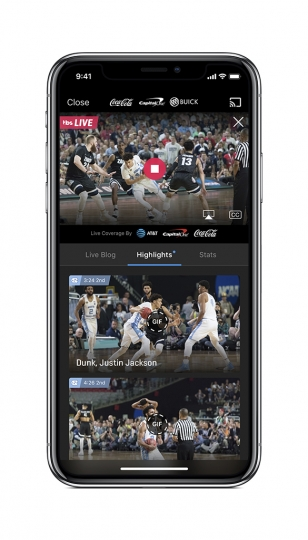 This undated product image provided by Turner Broadcasting System, Inc. shows the NCAA March Madness Live app on an iPhone. The men's college basketball tournament begins Tuesday, March 13, 2018. All 67 games will be available online. Many of the games, including the Final Four, will require a password through your cable or satellite TV subscription. (Turner Broadcasting System, Inc. via AP)