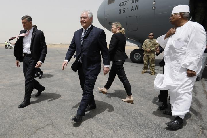 U.S. Secretary of State Rex Tillerson arrives at N'Djamena International Airport in N'Djamena, Chad, Friday, March 12, 2018. (Jonathan Ernst/Pool via AP)
