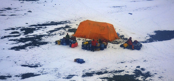This Sunday, March 11, 2018 photo distributed by Argentina's Navy shows stranded American scientists on Joinville Island in Antarctica, south of the Argentine mainland. An Argentine icebreaker has rescued the five American scientists who were stranded in the island off the northeast tip of the Antarctic Peninsula. (Argentina Navy via AP)
