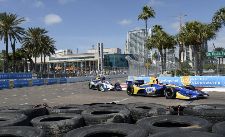 Alexander Rossi (27) and Marco Andretti (98) race through Turn 10 during the IndyCar Firestone Grand Prix of St. Petersburg, Sunday, March 11, 2018, in St. Petersburg, Fla. (AP Photo/Jason Behnken)