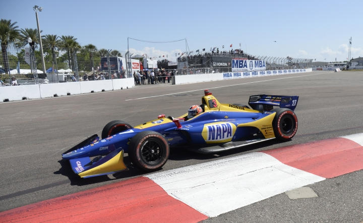 Alexander Rossi (27) races into turn two before finishing third in the IndyCar Firestone Grand Prix of St. Petersburg Sunday, March 11, 2018, in St. Petersburg, Fla. (AP Photo/Jason Behnken)