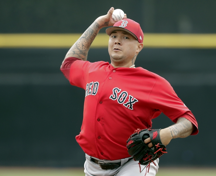 Boston Red Sox starting pitcher Hector Velazquez throws in the first inning of a spring baseball exhibition game against the Toronto Blue Jays, Monday,March 12, 2018, in Dunedin, Fla. (AP Photo/John Raoux)