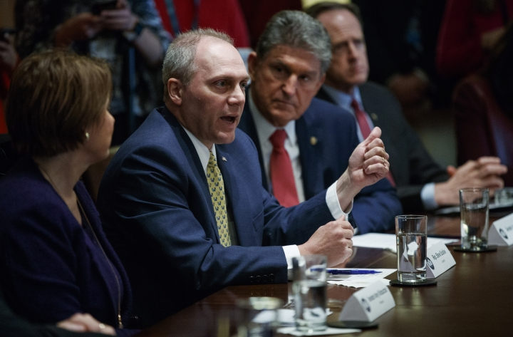 """In this Feb. 28, 2018, file photo, from left, Sen. Amy Klobuchar, D-Minn., Rep. Steve Scalise, R-La., Sen. Joe Manchin, D-W.Va., and Sen. Pat Toomey, R-Pa., participate in a meeting in the Cabinet Room of the White House, in Washington, with President Donald Trump and members of congress to discuss school and community safety. Not two weeks ago, Trump scolded Toomey for being """"afraid of the NRA"""" and declared that he would stand up to the powerful gun lobby and finally get results on quelling gun violence. Now Trump is striking a very different tone as he backpedals from his earlier demands for sweeping reforms. (AP Photo/Carolyn Kaster, File)"""