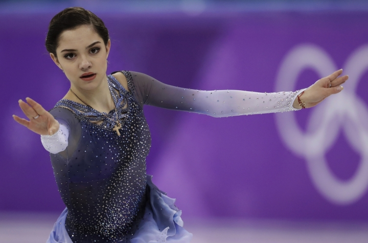 FILE In this file photo taken on Wednesday, Feb. 21, 2018, Evgenia Medvedeva of the Olympic Athletes of Russia performs during the women's short program figure skating in the Gangneung Ice Arena at the 2018 Winter Olympics in Gangneung, South Korea. Medvedeva has withdrawn from the world championships later in March, ending the prospect of another showdown for gold with her friend and rival Alina Zagitova. (AP Photo/Bernat Armangue, File)