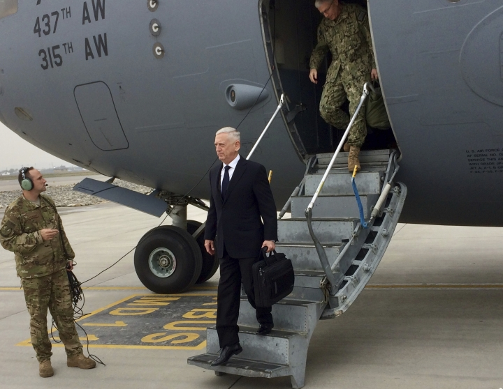 U.S. Defense Secretary Jim Mattis arrives in Kabul, Afghanistan on Tuesday, March 13, 2018. Mattis said Tuesday he believes victory in Afghanistan is still possible — not necessarily on the battlefield but in facilitating a Taliban reconciliation with the Afghan government. (AP Photo/Robert Burns)