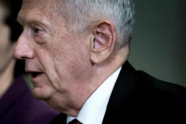 "FILE - In this Wednesday, March 7, 2018 file photo, U.S. Defense Secretary Jim Mattis speaks during a meeting with Estonian Defense Minister Juri Luik at the Pentagon in Washington. Mattis on Sunday, March 11, 2018, warned the Syrian government not to use chemical weapons in its civil war and said the Trump administration has made it clear that it would be ""very unwise"" to use gas in attacks. Mattis said Russia, which intervened militarily in Syria to support the Assad government, could be complicit in the civilian casualties. (AP Photo/Andrew Harnik, File)"