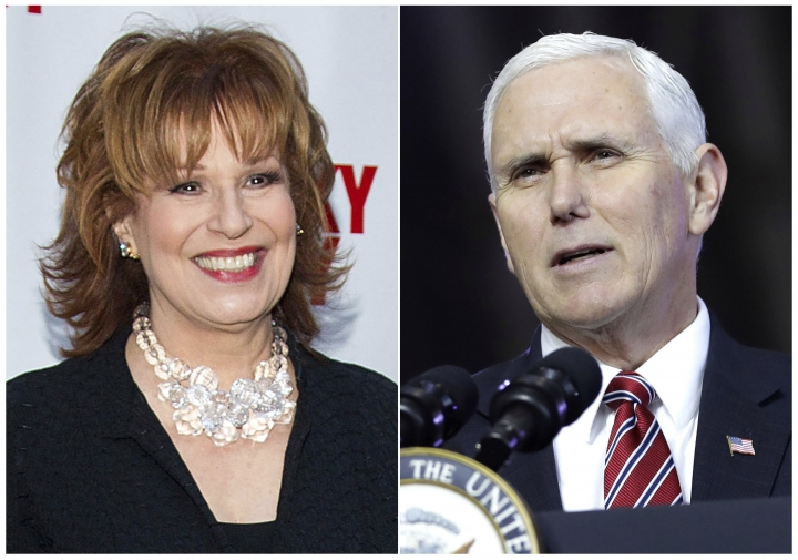 "This combination photo shows TV personality Joy Behar at the ""Lucky Guy"" Opening Night in New York on April 1, 2013, left, and U.S. Vice President Mike Pence aspeaking at U.S. Yokota Air Base, on the outskirts of Tokyo, on Feb. 8, 2018. Behar of ""The View"" is apologizing for comments she made for equating people's claims that Jesus Christ talks to them to mental illness. Her apology on ""The View"" Tuesday, March 13, 2018, came after Pence said that Behar had called him to personally apologize. (AP Photo)"