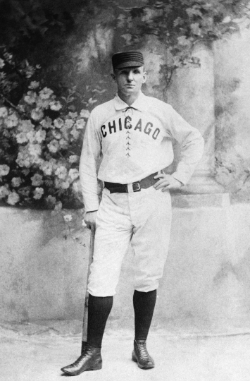 "FILE - This is a circa 1876 file photo showing Chicago White Stockings baseball player Adrian ""Cap"" Anson. Anson played 27 big-league seasons. (AP Photo)"
