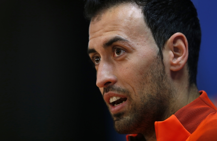 FC Barcelona's Sergio Busquets attends a press conference at the Sports Center FC Barcelona Joan Gamper in Sant Joan Despi, Tuesday, March 13, 2018. FC Barcelona will play against Chelsea in a Champions League round of sixteen second next Wednesday. (AP Photo/Manu Fernandez)