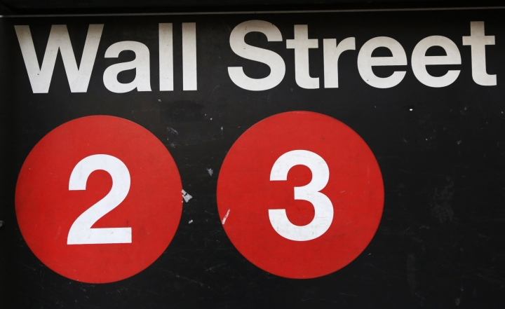 FILE - This Friday, Jan. 15, 2016, file photo shows a sign for a Wall Street subway station in New York. The U.S. stock market opens at 9:30 a.m. EST on Tuesday, March 13, 2018. (AP Photo/Mark Lennihan, File)