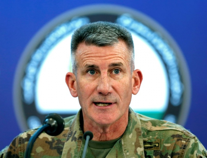 FILE PHOTO: U.S. Army General John Nicholson speaks during a news conference in Kabul, Afghanistan November 20, 2017. REUTERS/Mohammad Ismail/File Photo