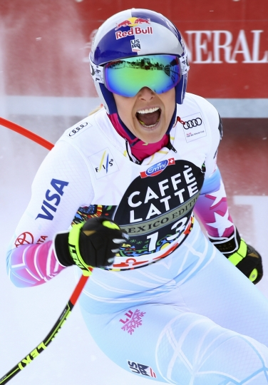 United States' Lindsey Vonn gets to the finish area after completing a women's downhill, at the alpine ski World Cup finals in Are, Sweden, Wednesday, March 14, 2018. (AP Photo/Marco Trovati)