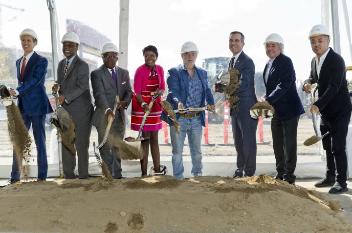 "Left to right: Lucas Museum of Narrative Art Founding President, Don Bacigalupi, Los Angeles City Councilmember Curren Price, County Supervisor Mark Ridley-Thomas, Co-Founders, Mellody Hobson, and filmmaker George Lucas, Los Angeles Mayor Eric Garcetti, Angelo Garcia, and architect Ma Yansong break ground the Lucas Museum of Narrative Art in Los Angeles Wednesday, March 14, 2018. The institution, scheduled to open in 2021, is envisioned as not just a repository for ""Star Wars"" memorabilia but a wide-ranging museum representing all forms of visual storytelling from paintings and drawings to comic strips and digital and traditional films. (AP Photo/Damian Dovarganes)"