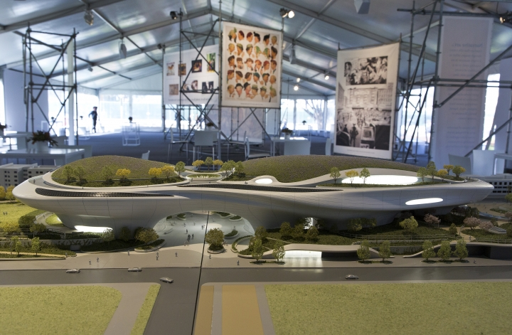 """An architectural model of the Lucas Museum of Narrative Art iconic building designed by Ma Yansong of MAD Architects is displayed in Los Angeles Wednesday, March 14, 2018. The institution, scheduled to open in 2021, is envisioned as not just a repository for """"Star Wars"""" memorabilia but a wide-ranging museum representing all forms of visual storytelling from paintings and drawings to comic strips and digital and traditional films. (AP Photo/Damian Dovarganes)"""