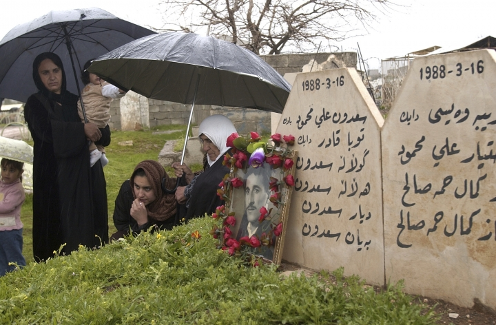 FILE - In this Friday, March 16, 2007 file photo, Kurdish women visit graves of their loved ones in Halabja, Iraq. Iraq's Kurdish region has commemorated the 30th anniversary of Saddam Hussein's 1988 gas attack in the northeastern Kurdish town of Halabja that killed 5,000 people. (AP Photo/Yahya Ahmed, File)
