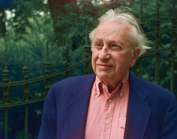 FILE - In this July 8, 1997 file photo, Pulitzer Prize-winning author and broadcast legend, Studs Terkel, appears outside his home in Chicago. More than 5,600 of Terkel's radio interview programs on the Chicago station WFMT will be released to the public. The Studs Terkel Radio Archive will launch May 16, the late author, activist and oral historian's 106th birthday. Terkel died in 2008 at age 96. (AP Photo/Michael S. Green, File)