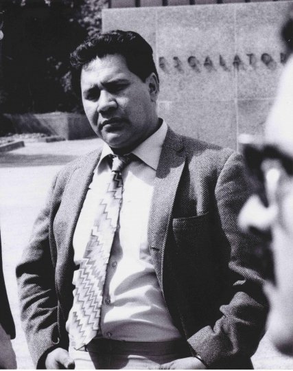 "This 1970 photo released by Raul Ruiz shows attorney Oscar Zeta Acosta at a demonstration in downtown Los Angeles. Acosta, a volatile Mexican-American writer who was the inspiration for Hunter Thompson's Dr. Gonzo in ""Fear and Loathing in Las Vegas,"" is the focus of a new PBS/VOCES documentary airing March 23, 2018. (AP Photo/ Courtesy of Raul Ruiz)"