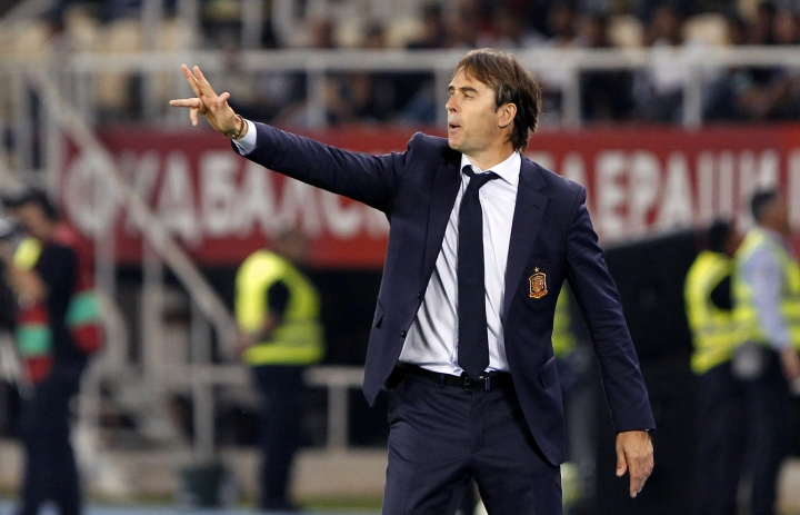 FILE - In this June 11, 2017 file photo, Spain's head coach Julen Lopetegui gives instructions to his players, during their World Cup Group G qualifying soccer match against Macedonia, at the Philip II National Stadium in Skopje, Macedonia. Spain enters the final stage of its World Cup preparations with coach Julen Lopetegui experimenting up front. Lopetegui has called up several different forwards since taking over the national squad and has plenty of options to choose from before announcing the final list for Russia in a few months. (AP Photo/Boris Grdanoski, File)