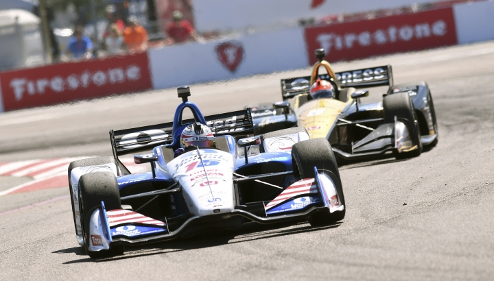 Graham Rahal (15) races into turn two before finishing second in the IndyCar Firestone Grand Prix of St. Petersburg Sunday, March 11, 2018, in St. Petersburg, Fla. (AP Photo/Jason Behnken)