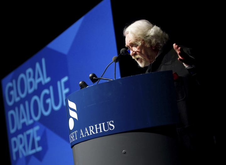 "FILE - In this Jan. 27, 2010, file photo, Iranian philosopher Dariush Shayegan gestures during his speech after he received the 2009 Global Dialogue Prize Award in Aarhus, Denmark. Iranian state media is reporting that Shayegan, known for his book ""Cultural Schizophrenia,"" has died at the age of 83. A report on Thursday, March 22, 2018, by the state-run IRNA news agency said Shayegan spent nearly two months at a Tehran hospital after suffering a stroke in January. (Ole Lind/Polfoto, File)"