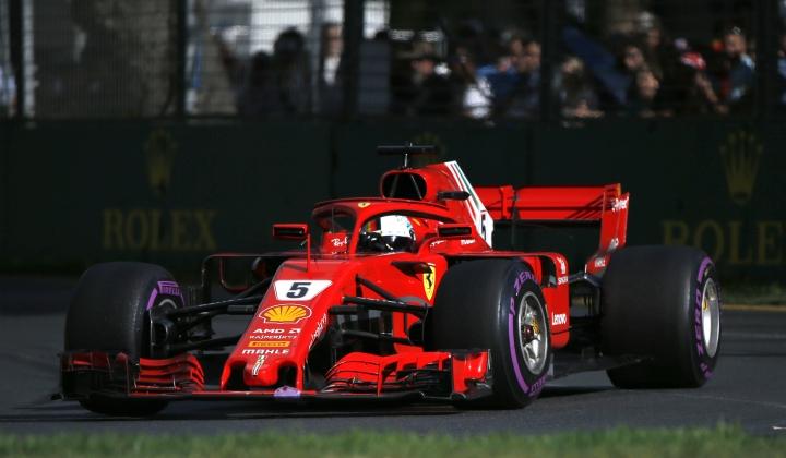 Ferrari driver Sebastian Vettel of Germany steer his car during the Australian Formula One Grand Prix in Melbourne, Australia, Sunday, March 25, 2018. (AP Photo/Asanka Brendon Ratnayake)