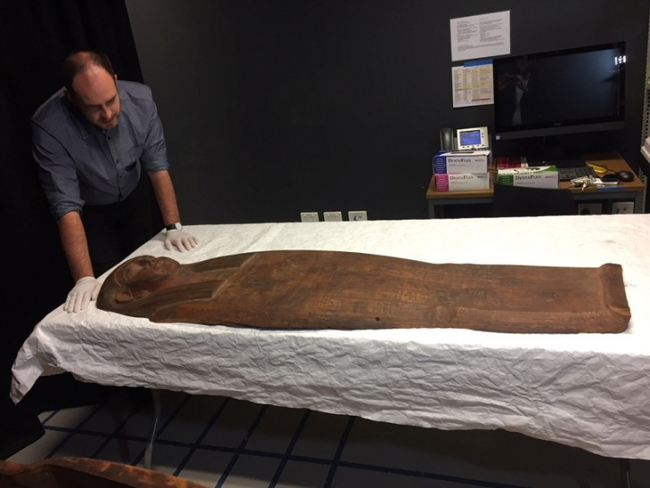 A 2,500-year old coffin that may contain a mummy lies at the University of Sydney in Sydney, Australia March 27, 2018. REUTERS/Colin Packham