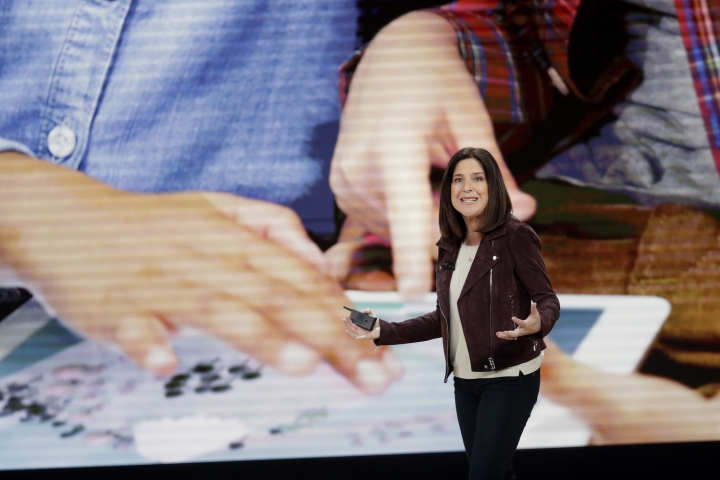 Susan Prescott, Apple vice president of Product Management and Marketing, speaks during an Apple event at Lane Technical College Prep High School, Tuesday, March 27, 2018, in Chicago. (AP Photo/Charles Rex Arbogast)