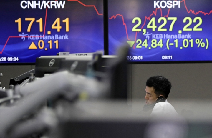 A currency trader talks on the phone near the screens showing the Korea Composite Stock Price Index (KOSPI), right, and the foreign exchange rate at the foreign exchange dealing room in Seoul, South Korea, Wednesday, March 28, 2018. Asian stock markets were in the red Wednesday as tech stocks extended losses following sell-offs of their U.S. peers overnight. Investors are selling technology-related shares on concern governments might tighten their scrutiny over Facebook after it was revealed that users' data was shared with a consulting firm affiliated with President Donald Trump. (AP Photo/Lee Jin-man)