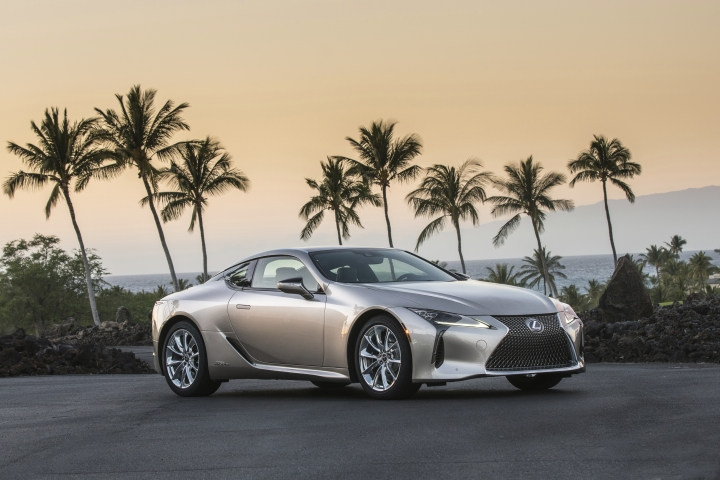 This undated photo provided by Toyota shows the Lexus LC 500h. The GS 450h midsize sedan, the LC 500h sport coupe and the RX 450h SUV use a six-cylinder engine that's bolstered by battery-fed electric motors. They aren't plug-ins, so these hybrids do all the hybrid-related thinking for the driver and ask nothing in return. (David Dewhurst/Courtesy of Toyota Motor Sales U.S.A. via AP)