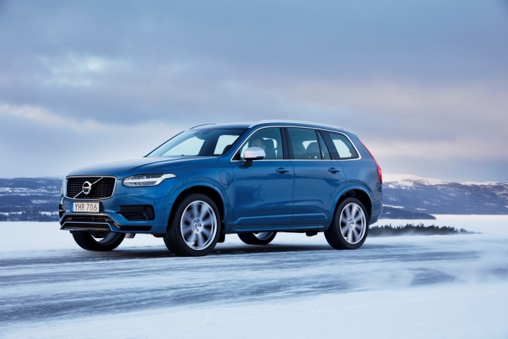 This undated photo provided by Volvo shows the XC90 T8 plug-in hybrid SUV. The S90 T8 sedan, the XC60 T8 SUV and the XC90 T8 SUV all sport a turbocharged and supercharged four-cylinder engine that drives the front wheels only while the electric motor drives the rear wheels. (Courtesy of Volvo Cars of North America via AP)