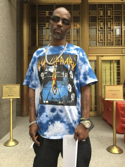 In this August 2017 photo, DMX, the rapper also known as Earl Simmons, leaves Manhattan federal court in New York after an appearance in his tax fraud case. DMX could get up to five years in prison when he is sentenced, Wednesday, March 28, 2018, for trying to dodge $1.7 million in taxes. (AP Photo/Larry Neumeister)